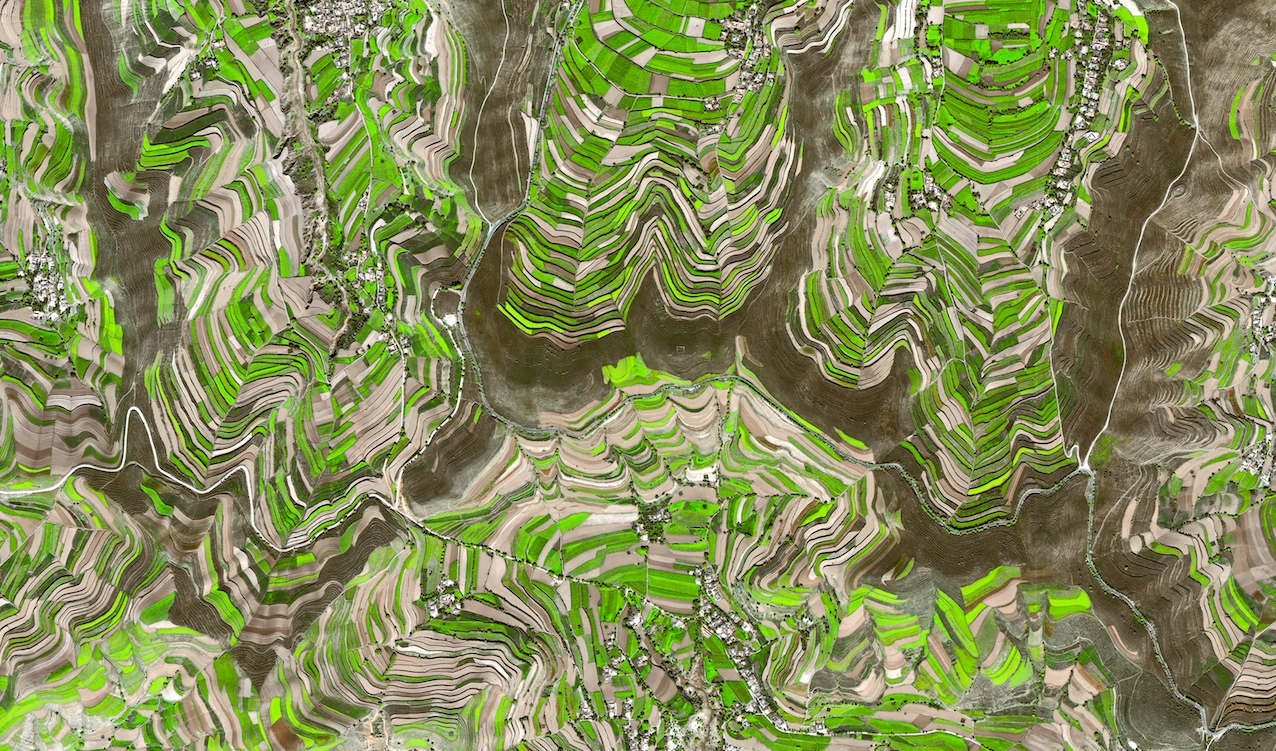Bashang highland plateau, Inner Mongolia, from DigitalGlobe's Quickbird satellite. eoVision/Human Footprint book