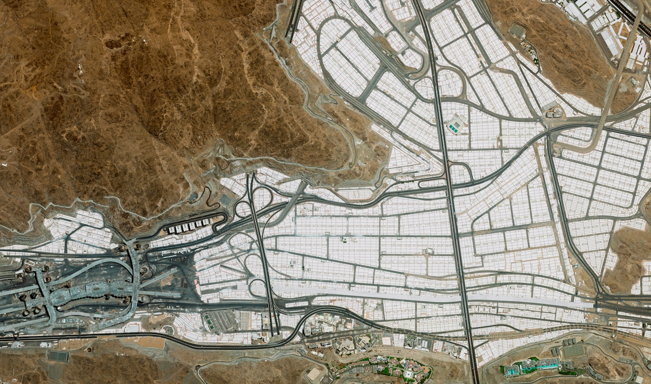 Tent city for Hajj ceremonies, Mecca Saudi Arabia, from the DigitalGlobe GeoEye-1 satellite. Courtesy eoVision/Human Footprint book.